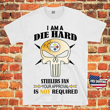 Pittsburgh Steelers FOOTBALL PUNISHER SKULL NFL Tee Jersey T Shirt Free Shipping