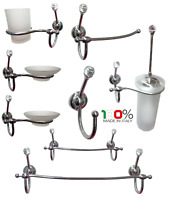 Set accessori bagno strass swarovski cristalli cromo classico moderno elegante