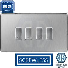 BG Brushed Steel Screwless Custom Grid Switch Panel Kitchen Appliance 4 Gang