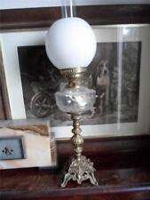 Gilt Metal Oil Lamp with Ripple Glass Font & Opaque Shade