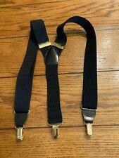Gillmons Suspenders Blue Herringbone Elastic Adjustable Snap Clips Leather Trim
