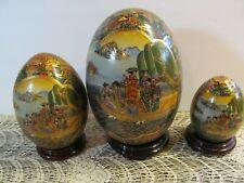 Porcelain Asian Satsuma Eggs Hand Painted Stands Geisha Gardens 8.5'' set 3