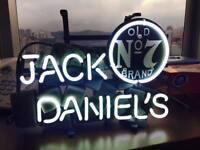 "13""x7""JACK DANIEL'S Neon Sign Bier Bar Kneipe Wandbehang Echtglasröhre Kunstwerk"