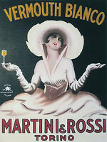 """martini vermouth vintage art print large satin or canvas  28""""x 20""""  painting"""