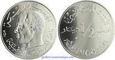 ESSAI    TUNISIE   HABIB   BOURGUIBA  ,  1/2  DINAR    1968  ,   FLEUR  DE  COIN