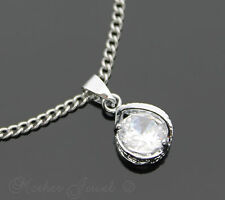 SILVER SP CUBIC ZIRCONIA CLASSIC ROUND PENDANT NECKLACE STAINLESS STEEL CHAIN