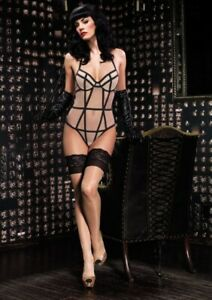 New! Leg Avenue 86502 Mesh Teddy with Vintage Girdle Stitching, Nude, S, M or L