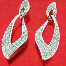 EARRINGS GENUINE REAL 925  STERLING SILVER DIAMOND SIMULATED STUD DROP DESIGN