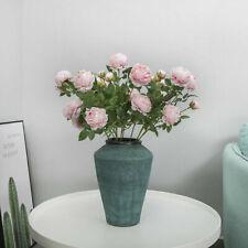 Pink Rose Artificial Decor Peony Wedding Bouquet Silk Home Bridal Flowers Fake