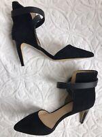 NEW JOE'S Women Black suede leather ankle cuff pointy toe shoes heels sz 9 M