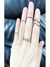 5pcs Set SILVER Tone Stack Above Knuckle Leaves Crystal Midi Band Rings Chain