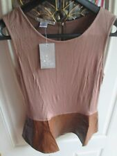 Truly Dear Sleeveless Shirt Stretch Zippered size large L Faux Leather NWT