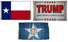 3x5 Trump White #2 & State of Texas & City of Houston Wholesale Set Flag 3'x5'