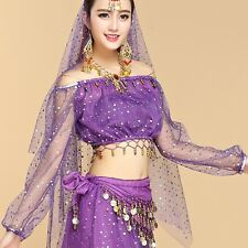 Adult Girls Belly Dance Long Sleeved Top Costume Festival Cosplay Shiny Top