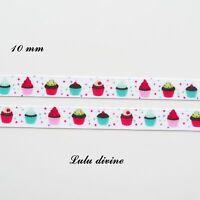 Ruban gros grain blanc à pois multicolore Petit gâteau Cupcake de 10 mm au mètre