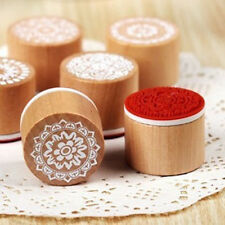 Hot 1 X  DIY Scrapbooking Lace Stamps Vintage Flower Wooden Rubber Craft Ink Pad