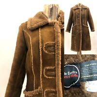 Vintage Brown Suede 70s Style Ladies Long Jacket Coat Size 14 Retro Fur Collar