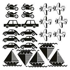 Cars Wall Stickers Motorcycle Boat Plane Set of 23 Kids Nursery Vinyl Car Decor
