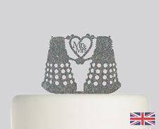 Doctor Who Dalek Mr and Mrs Wedding Cake topper Acrylic Glitter Decoration.707