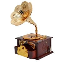 Classical Trumpet Horn Turntable Gramophone Art Disc Music Box makeup Case Brown
