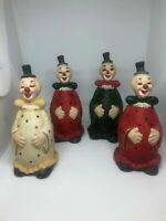 Lot of 4 Vintage Ceramic Smiling FAT CLOWN BELL Figurine 5""