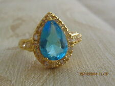 Yellow Gold Filled  Ring with Blue Swar Crystal - Size 8