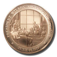 Franklin Mint History of US Wilson Signs Peace Treaty 1919 45mm Proof Bronze Med