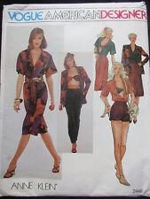 2440 VOGUE Misses ANNE KLEIN Jacket Blouse Pants Shorts Bra + Pattern UNCUT s12