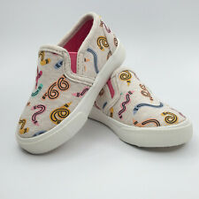New Toddler Girls' Slip-on Pink/Cream Canvas Sneakers f/ Cat & Jack [Size 5]