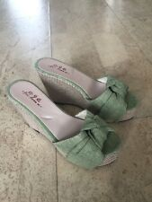 WOMEN'S NEW LIME GREEN WEDGE HEELS SIZE 38
