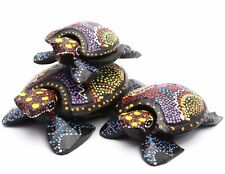 Colorful Hand-Painted Wood Sea Turtle Figurines - Full set or Individual Pieces