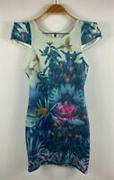Shareen Womens Boho Toucan Dress Size 8 Bodycon Pencil Dress Tropical Theme