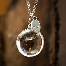"DANDELION SEED MAKE A WISH PLANT SEED GENUINE NECKLACE 18"" INCH WITH TAG 'WISH'"
