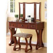 Tri Folding Mirror Curved Lines Vanity Makeup Table Bench Set 3 Drawers Cherry