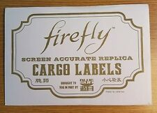 Serenity/Firefly Screen Accurate Replica Cargo Labels prop
