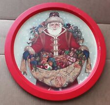 Old World Santa Round Tin Metal Serving Tray 13""