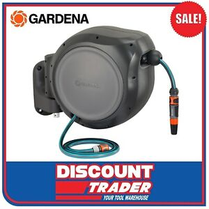 Gardena Roll-Up 30m Wall Mounted 13mm Auto Spring Retractable Hose Reel 8055-25