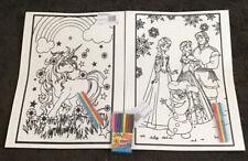 2 Large Unicorn And Frozen Velvet Colouring Picture Boards Plus 8 Felt Tips