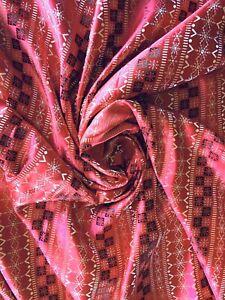 "Fair Isle Snowflake Brocade Fabric Red Black Silver-Gray 46"" x 6 Yds"