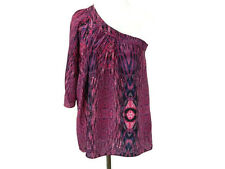 Plenty by Tracy Reese Blouse Size P One Shoulder Purple Peasant Top New