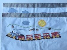Two White Red Train Engine Caboose Window Curtains Valances
