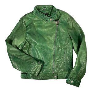 Ladies Ashwood Genuine Leather Green Bomber Biker Jacket Size 12 Immaculate