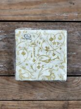 Paper Beverage Napkins Boston International Christmas Tales Gold Cream Partyware