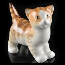 RUSSIAN Imperial Lomonosov Porcelain Sculpture Cat Kitten Orange Fimka