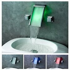 Chrome LED Waterfall Colors Changing Bathroom Basin Mixer Sink Faucet (HDD758)
