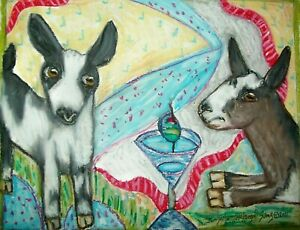 MINI ALPINE art PRINT wall art 4x6 modern folk Dairy goat Farm Collectible