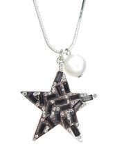 Kette Stern silber schwarz Perle weiß by Ella Jonte lange Halskette Sternenkette