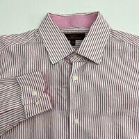 Ben Sherman Button Up Dress Shirt Men's 15 Long Sleeve Pink Red White Striped