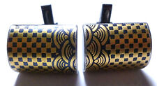 DESIGNER MENS WOMENS STERLING SILVER GOLD NIELLO CHECKERED CUFFLINKS SOVIET SET