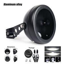"12V Retro Motorcycle Bikes 5.75"" LED Black Headlight+Bracket Set  Aluminum alloy"